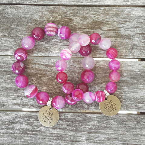 mommy and me protection bracelets live laugh love vintage brass charms pink agate beads
