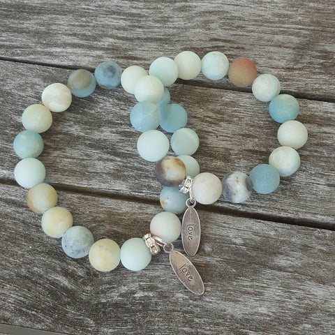 mommy and me protection bracelets pewter love tag charms matte amazonite beads