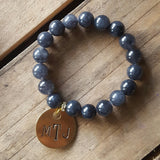 vintage hand stamped brass tag on beaded gemstone 10mm blue jade bracelet