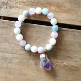 moonstone gemstones real raw amethyst nugget charm protection bracelet