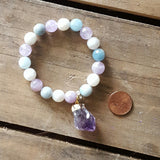 moonstone gemstones real raw amethyst nugget charm protection bracelet penny