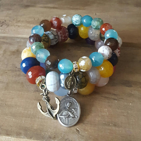 "protection bracelets stack multi color agate beads 2"" vintage brass anchor charm 1"" St. Gerard medal 1/2"" mini brass St. Mary medal"