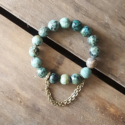 protection bracelet african turquoise agate stone w gold pewter garland chain