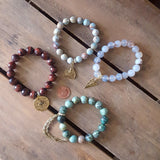protection stone bracelets w namaste pewter charms by Marinella