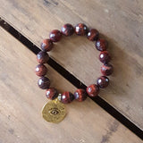 protection bracelet brown tiger eye agate stone w gold pewter third eye charm