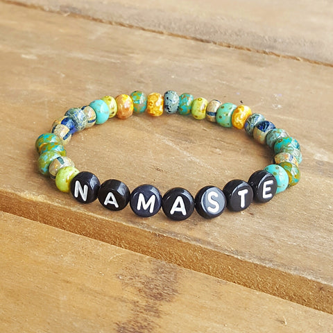 protection word bracelets by Marinella colorful vintage 6mm beads with letter beads spelling out Namaste