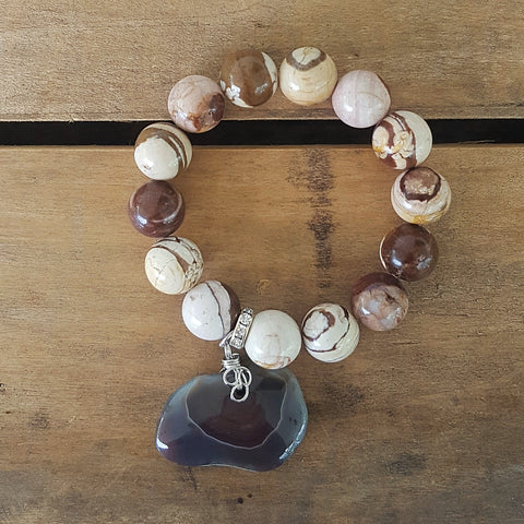 "protection bracelet by Marinella jewelry 14mm zebra jasper beads agate nugget 2"" wide charm"