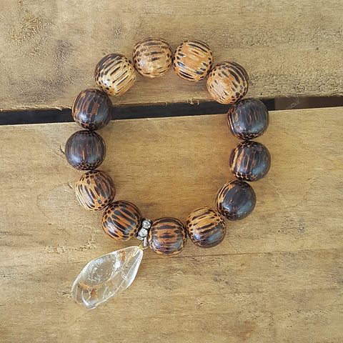 "protection bracelet by Marinella jewelry 14mm zebra wood beads amber nugget 1"" charm"
