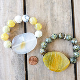 2mm natural druzy agate center 16mm yellow fire agate beads stretch bracelet