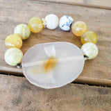 42mm natural druzy agate center 16mm yellow fire agate beads stretch bracelet