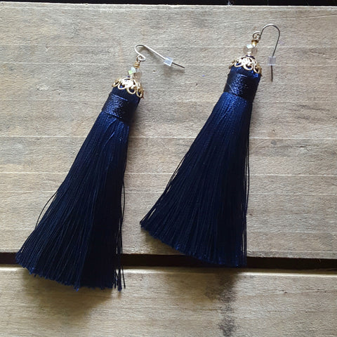 "fringe tassel earrings by Marinella jewelry deep navy approx. 3"" long dangle"