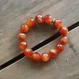 orange slice fire agate stone stack of protection bracelet 14mm