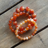 orange slice fire agate & carnelian stone stack of protection bracelets