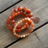 orange slice fire agate & carnelian stone stack of protection bracelets penny