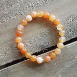 orange lt carnelian stone stack of protection bracelet 8mm