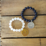 protection bead bracelets with prayer medal padre nuestro charm rose quartz blue goldstone