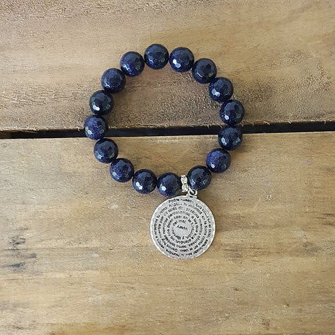protection bead bracelets with prayer medal padre nuestro pewter charm blue goldstone