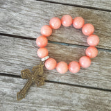 "protection bead bracelet coral jade 14mm 2"" pardon crucifix medal charm back"