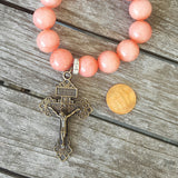 "protection bead bracelet coral jade 14mm 2"" pardon crucifix medal charm penny"