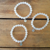 "cloudy white 8mm agate beads w 1/2"" round hand stamped tags"