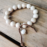 12mm cream agate gemstone beads freshwater Swarovski crystal dangle suede tie quality stretch bracelet