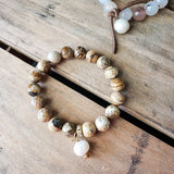 10mm picture jasper gemstone beads freshwater Swarovski crystal dangle quality stretch bracelet