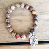 "10mm picture jasper gemstone beads 1"" pewter St. Anthony medal bracelet"