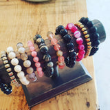 protection bracelets collection pinks & charcoals stones quality stretch