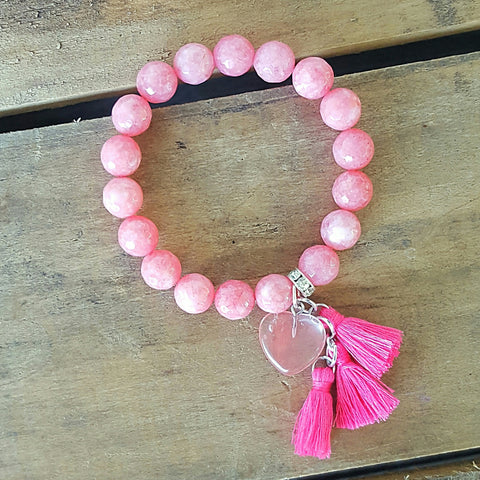 "Protection Bracelet by Marinella Strawberry pink jade beads with mini hot pink 1"" tassels and cherry quartz heart charms"