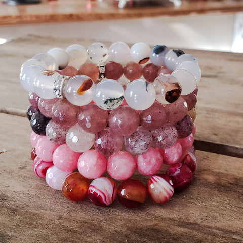 Protection Bracelets by Marinella 10mm stack of 5 different pink color beads