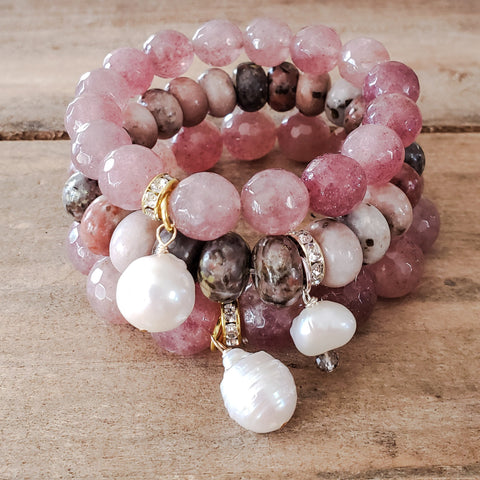 Strawberry quartz & jasper stretch bead bracelets w freshwater pearl drops 12mm 14mm