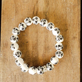 10mm hand painted black grey daisies on porcelain bead bracelet
