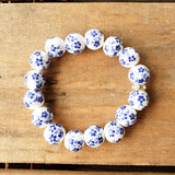 12mm porcelain blue hand painted floras quality stretch bracelet