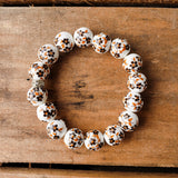 12mm porcelain brown hand painted floras quality stretch bracelet