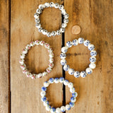 10mm 12mm hand painted flowers on porcelain bead bracelets