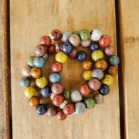 multi color 10mm porcelain bead bracelets