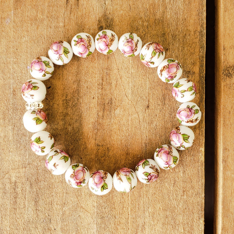 10mm hand painted pink peonies on porcelain bead bracelet