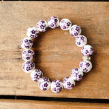 12mm porcelain purple hand painted floras quality stretch bracelet