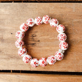 12mm porcelain red orange hand painted floras quality stretch bracelet