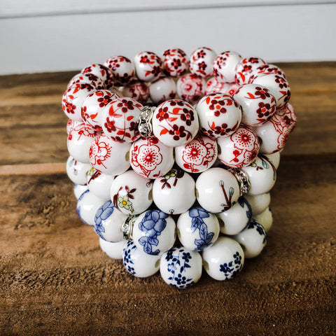 12mm porcelain hand painted floral beads bracelets red poppy blue lt. blue dk. blue & lotus colors