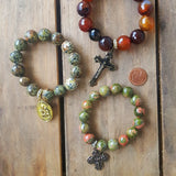 religious medal gemstone bead quality stretch bracelets collection