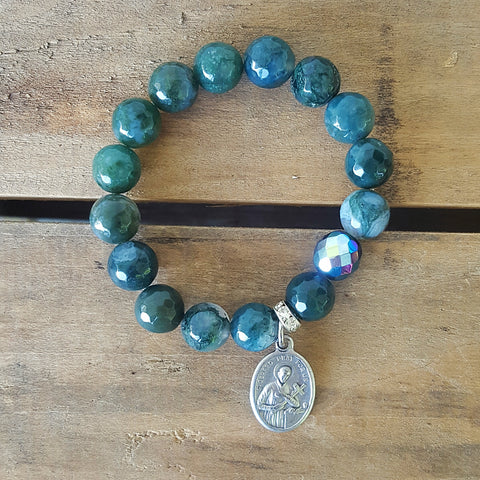 "Protection Bracelet by Marienlla 12mm green jade beads 1 emerald Czech prayer bead 1"" pewter St. medal"