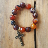 "Protection Bracelet by Marinella 16mm dream agate beads 1.5"" long brass crucifix"