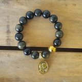 "protection bracelet by Marinella 12mm black Obsidian beads Gold hematite prayer bead 1"" oval gold brass Holy Family medal"