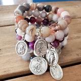 "stack of 5 12mm bead bracelets with 1"" religious medal & prayer / meditation beads"