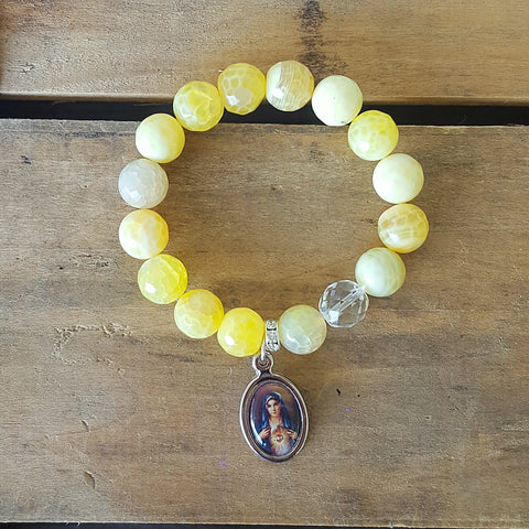 "Protection Bracelet by Marinella 12mm yellow fire agate w clear Czech crystal prayer bead 1"" oval colorful Mary medal charm"