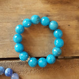 protection bracelet by Marinella jewelry azure blue jade stone 14mm