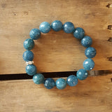 protection bracelet by Marinella jewelry teal jade stone 12mm