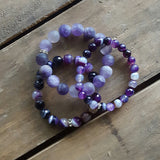 grape purple agate & matte agate stack protection bracelets