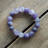 grape purple matte agate protection bracelet 12mm